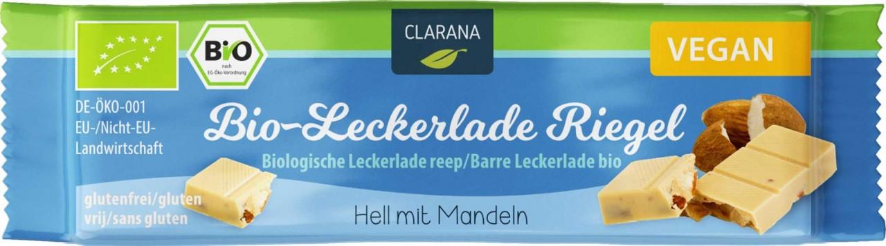 Clarana Bio-Leckerlade Riegel Hell mit Mandeln